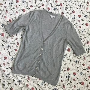 New York & Company Sweaters - Light Grey Short Sleeve Cardigan